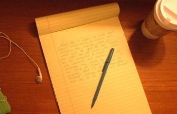 Writing pad, pen, other vital stuff