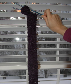 Purple skinny scarf