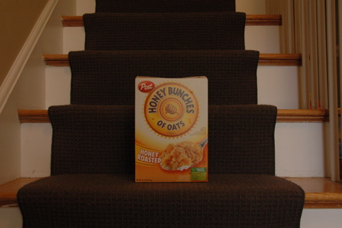 Cereal box on stairs