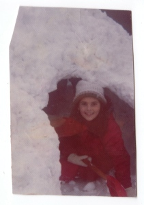Jane and snow, Leicester, MA. 1975.