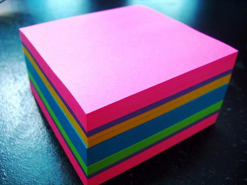 sticky note pile