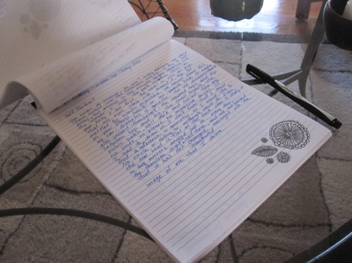 "draft prose poem, ""Self Portrait,"" for Day Six"