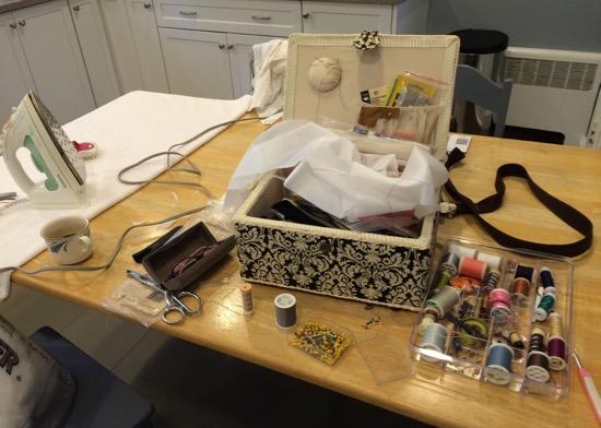 temporary work area, on kitchen table