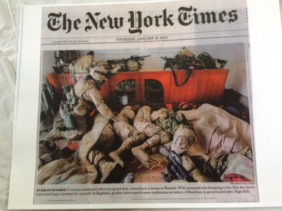 American troops snuggling with Iraqis in a house in Ramadi as temperatures drop in the 30s (2007)
